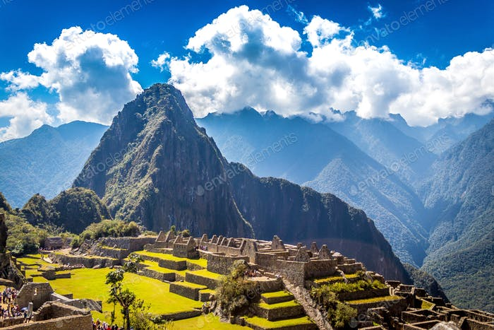 View from macchu picchu overlooking Incan village