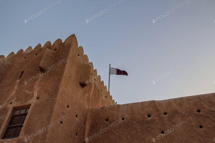 Qatari flag at Zubarah Fort