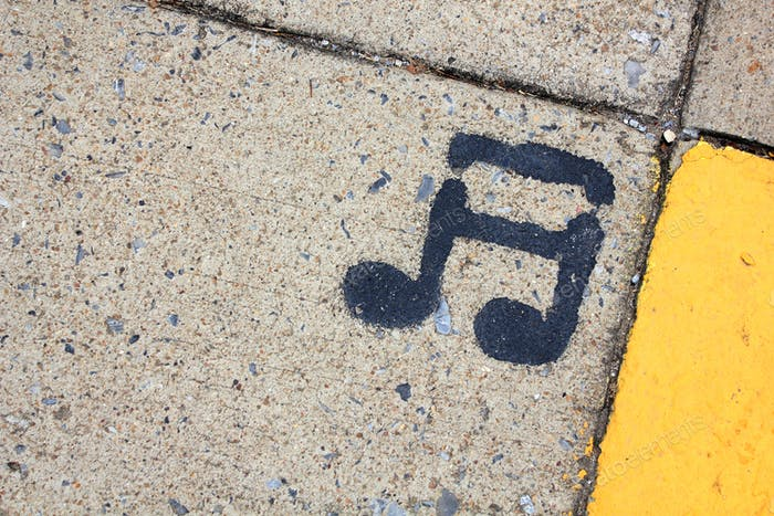 Musical note painted on the ground