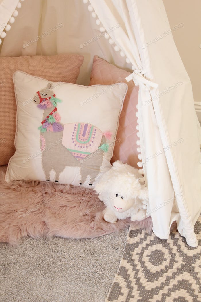 Teepee - Pastel soft furnishings in a little girl's bedroom