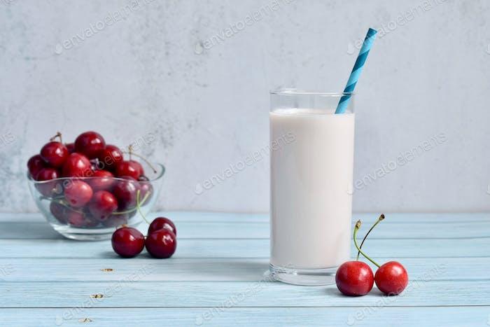 Dairy free milkshake milk fruit cherry
