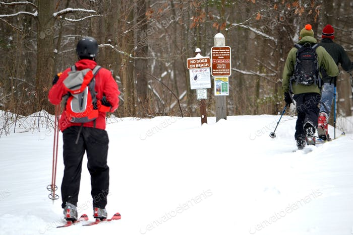 Cross country skiing. Winter sport for exercise. Michigan