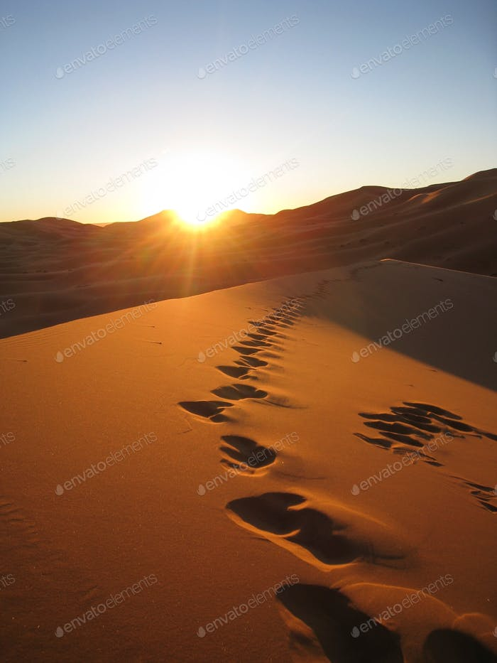 Footsteps on a sand dune in the desert