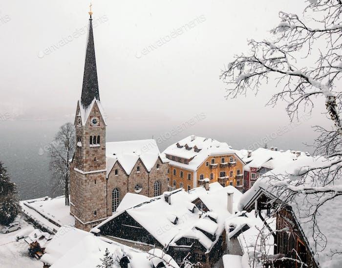 Idyllic town in winter. Hallstatt, Austria.