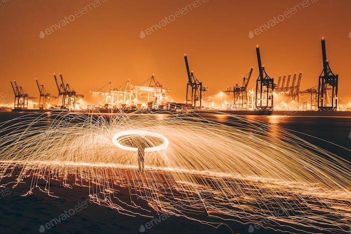 Steelwool painting in the Hamburg Harbor.