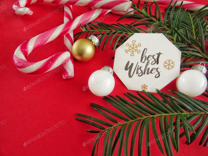 Candy canes with best wishes label