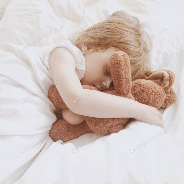 The little girl is sleeping