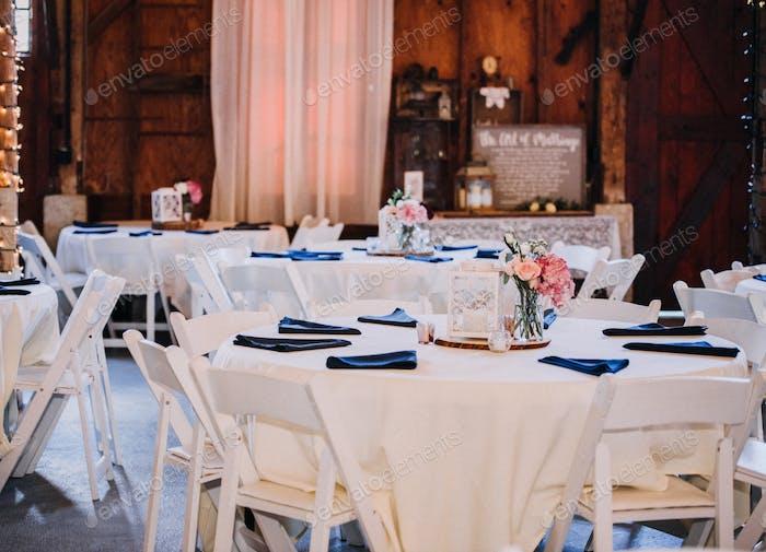 Barn wedding reception table