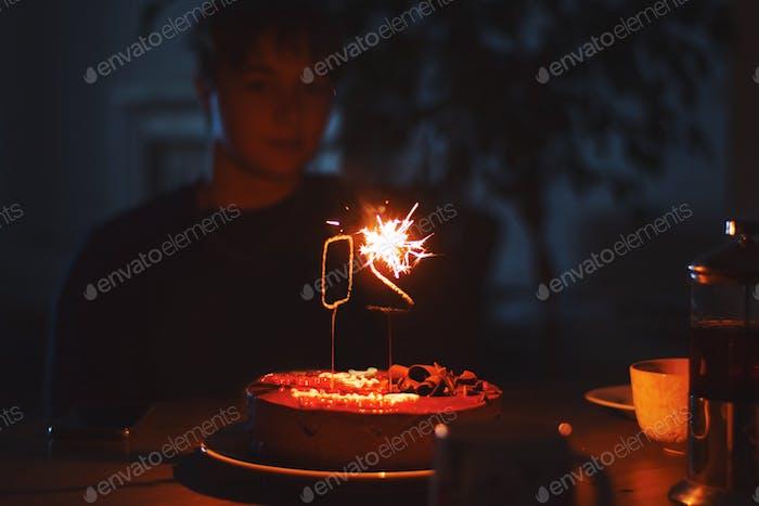 Birthday cake with fire sparklers number 20 twenty