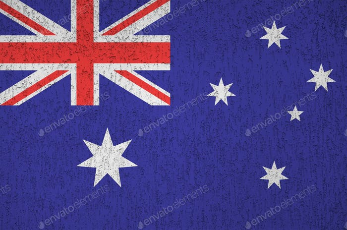 Australia flag depicted in bright paint colors on old relief plastering wall close up