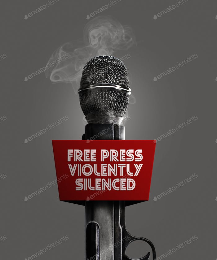 Gun microphone for press violently silenced.