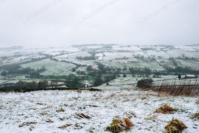 Snow in the countryside of Yorkshire United Kingdom