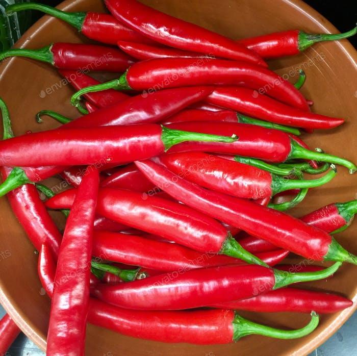 Rote, kalte Paprika