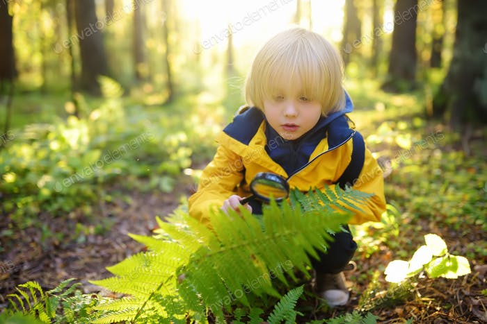 Preschooler boy is exploring nature with magnifying glass