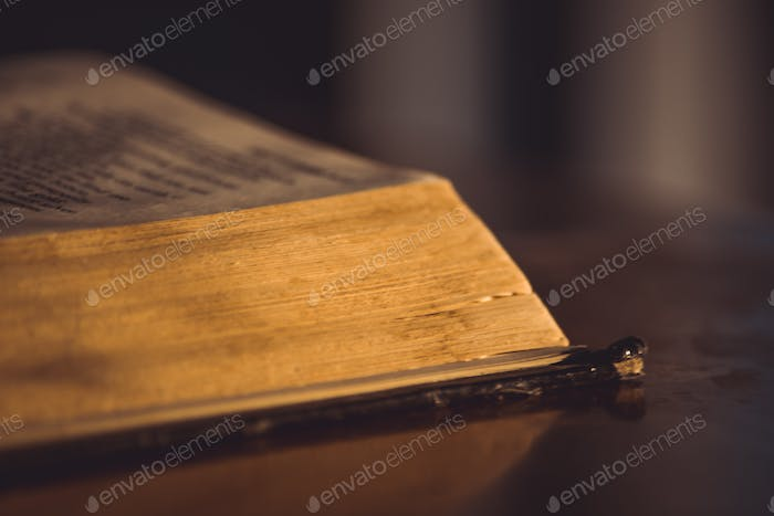 The corner of an old book