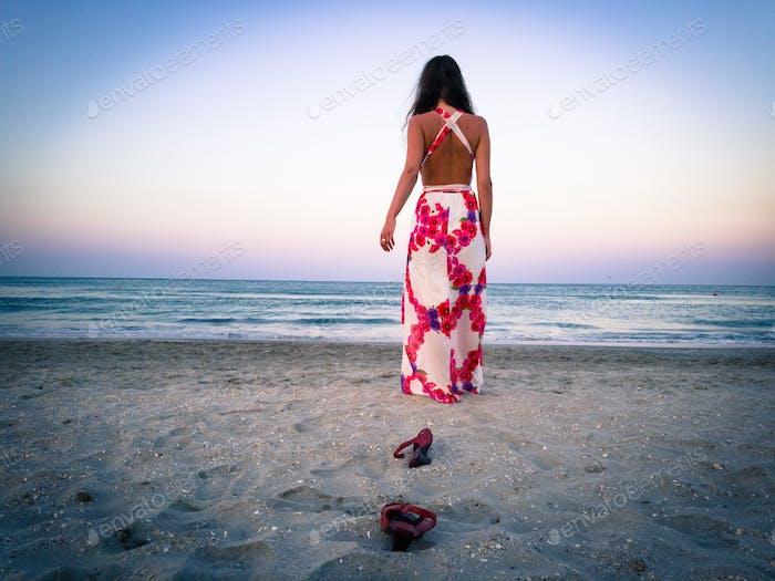 Dusk beach portrait