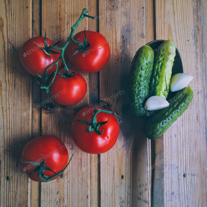 Fresh tomatoes and pickles - gourmet food