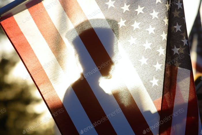 American Flag Soldier Silhouette Horizontal