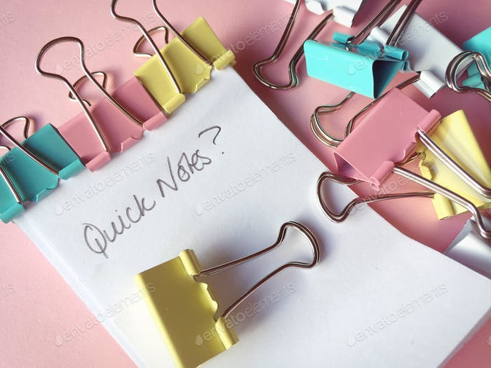 Note pad and clips, office organizer