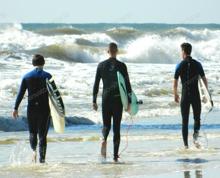 People from behind - wetsuit- ocean - water - nature - waves - reflection- nature -friends - surging