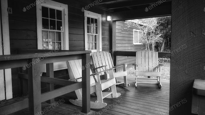 Country Porch In Grayscale
