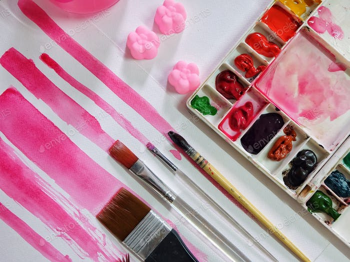 Watercolor painting pink