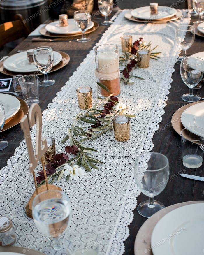 Table adorned for the wedding reception