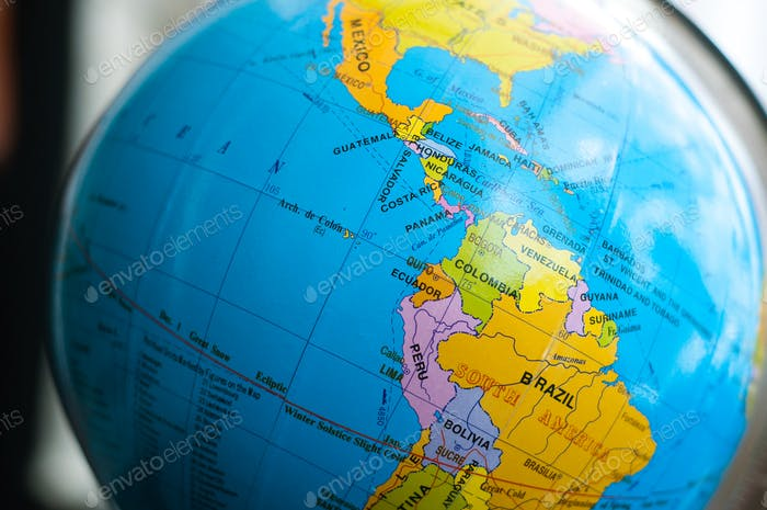 South America on the globe map.
