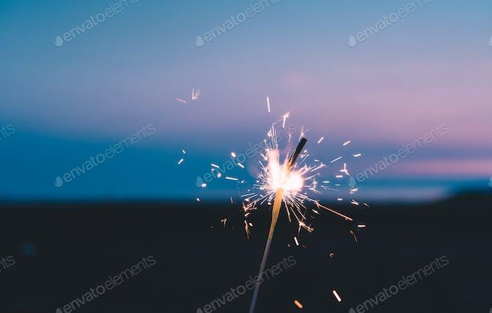 Firework at dawn