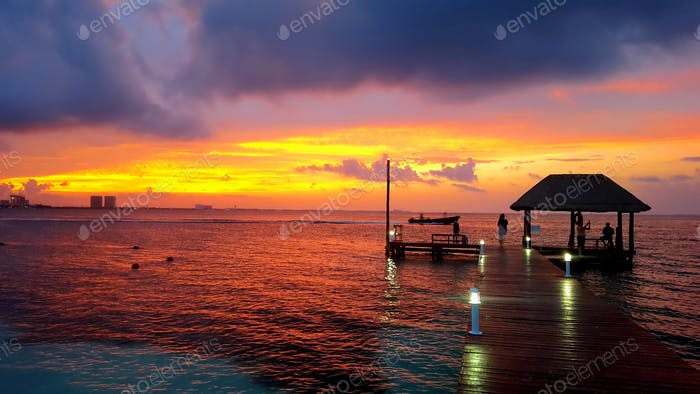A beautiful sunset over Cancun, Mexico