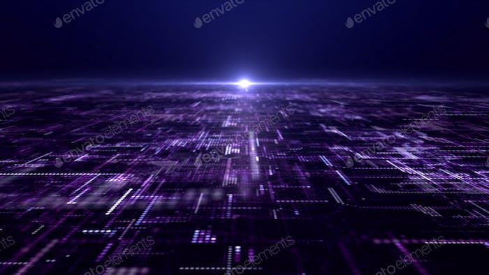 Futurista de partículas de matriz digital cuadrícula realidad virtual abstracta entorno ciberespacio de fondo