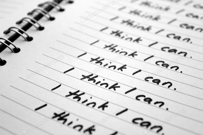 Note to self - I think I can - words of motivation written on a notebook