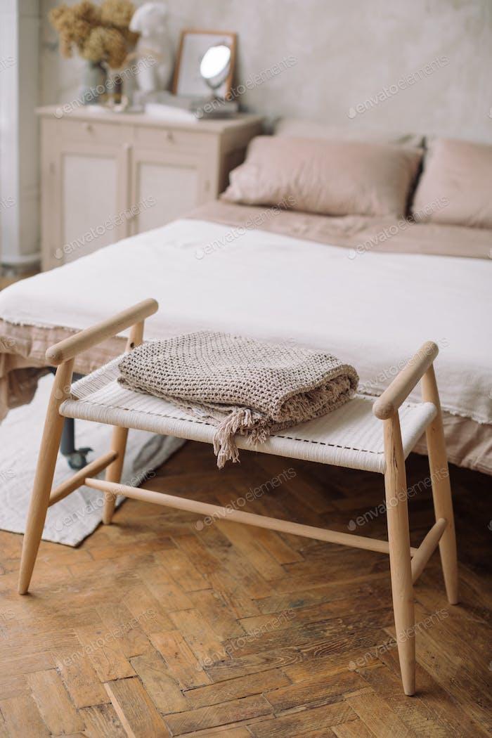 Scandinavian interior of bedroom