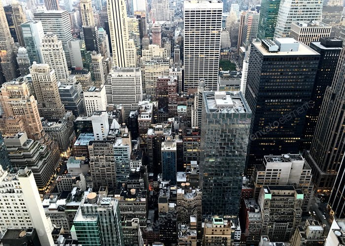 Aerial view dense metropolis skyscrapers