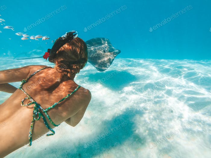 Woman snorkeling with the stingray