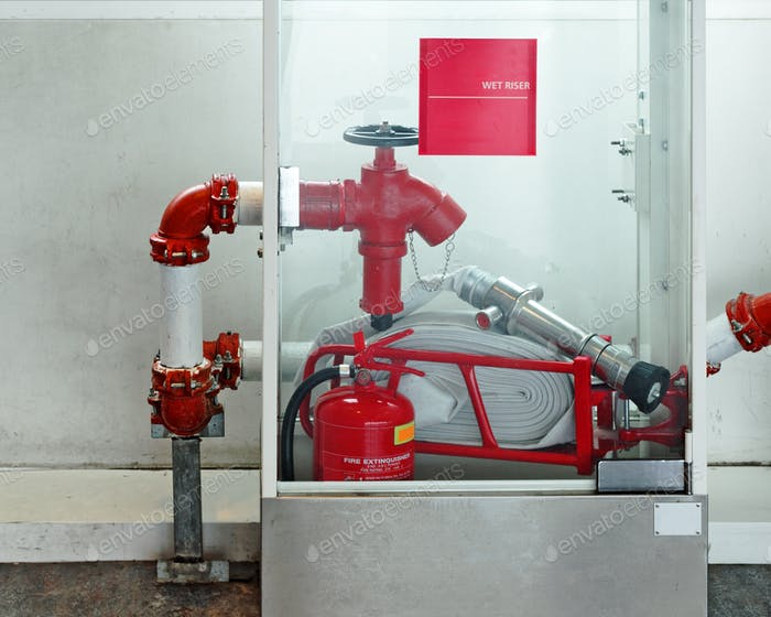 Emergency security kit - fire hydrant, water supply valve, fire extinguisher in a glass box