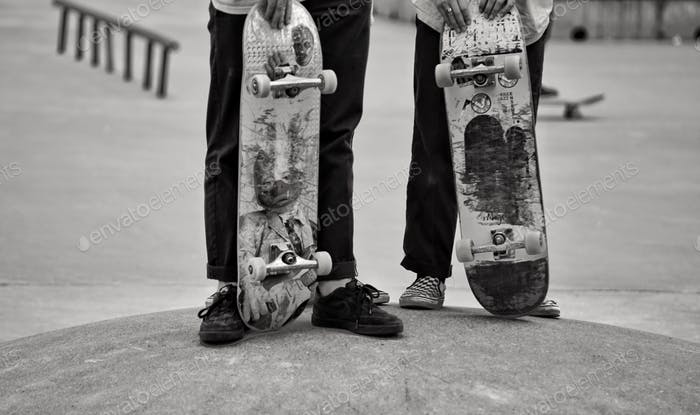 Young skaters in a skater park