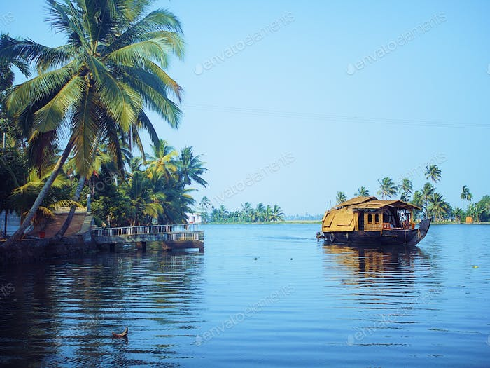 Traveling backwaters in Kerala India