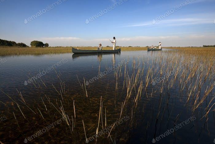 Tourists in the Okavango Delta in Botswana