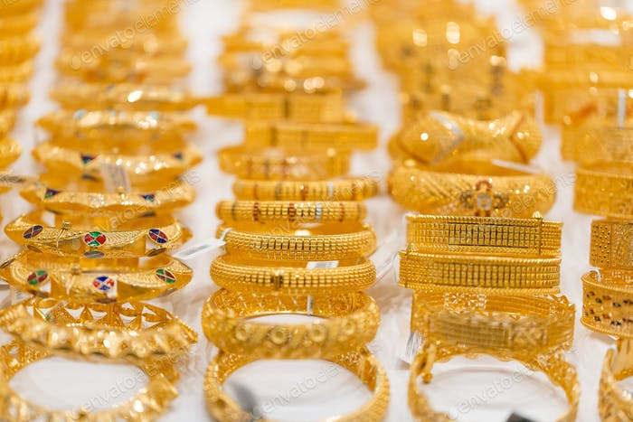 Golden jewellery at golden market in Deira, Dubai