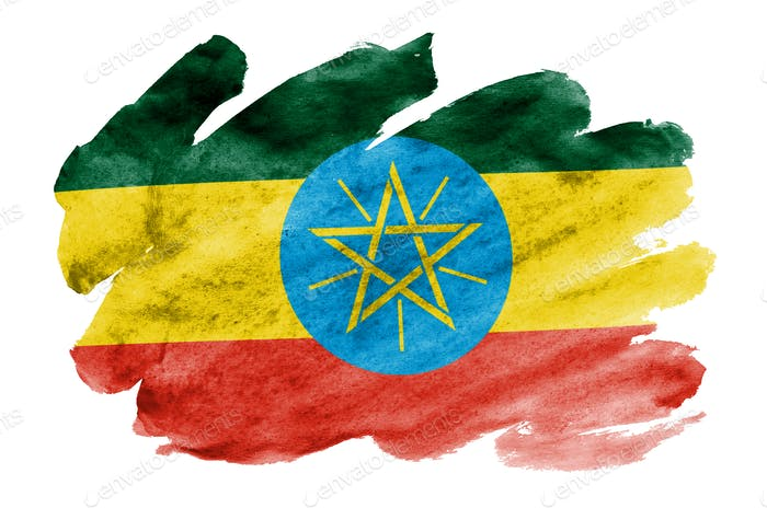 Ethiopia flag  is depicted in liquid watercolor style isolated on white background
