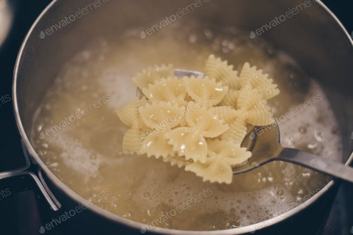 Bow tie, Farfalle pasta cooking in a pot