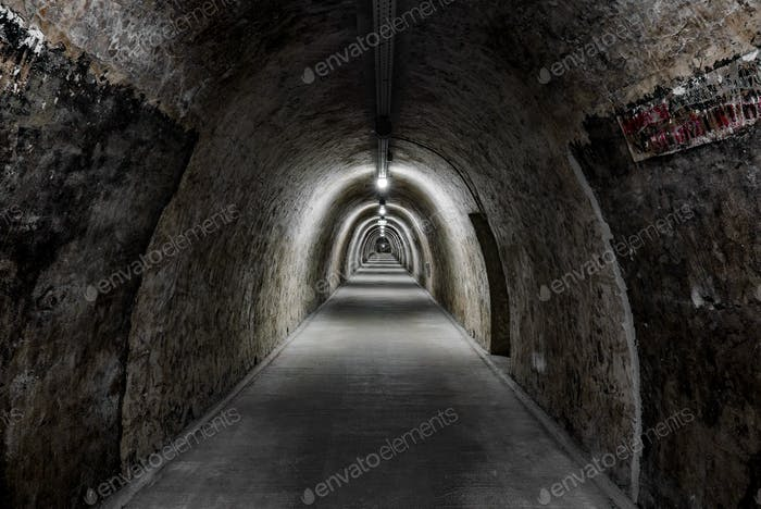 Diminishing perspective in a long underground tunnel.