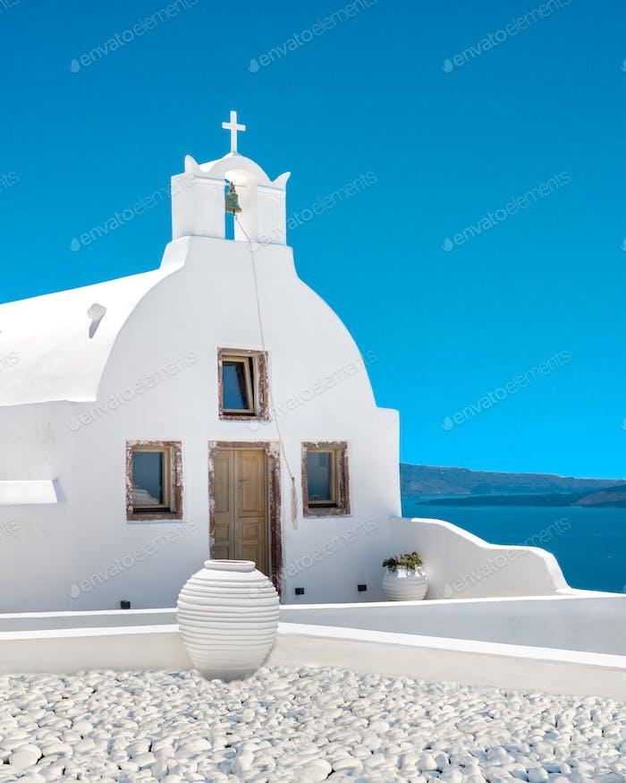 Small Greek orthodox church in Oia village, Santorini greek island