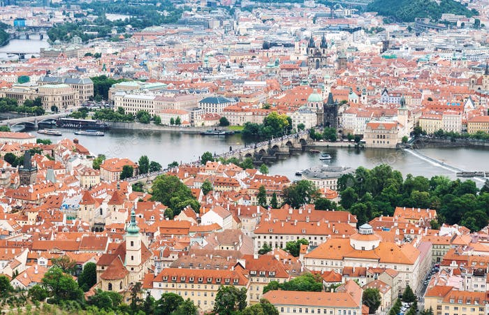 Aerial view of Prague old town with Charles bridge in the center in Czech Republic