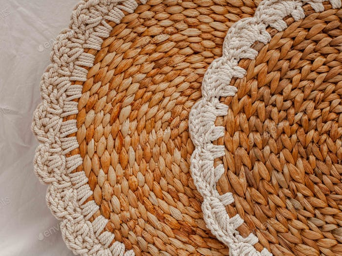 The wicker round stand for kitchen
