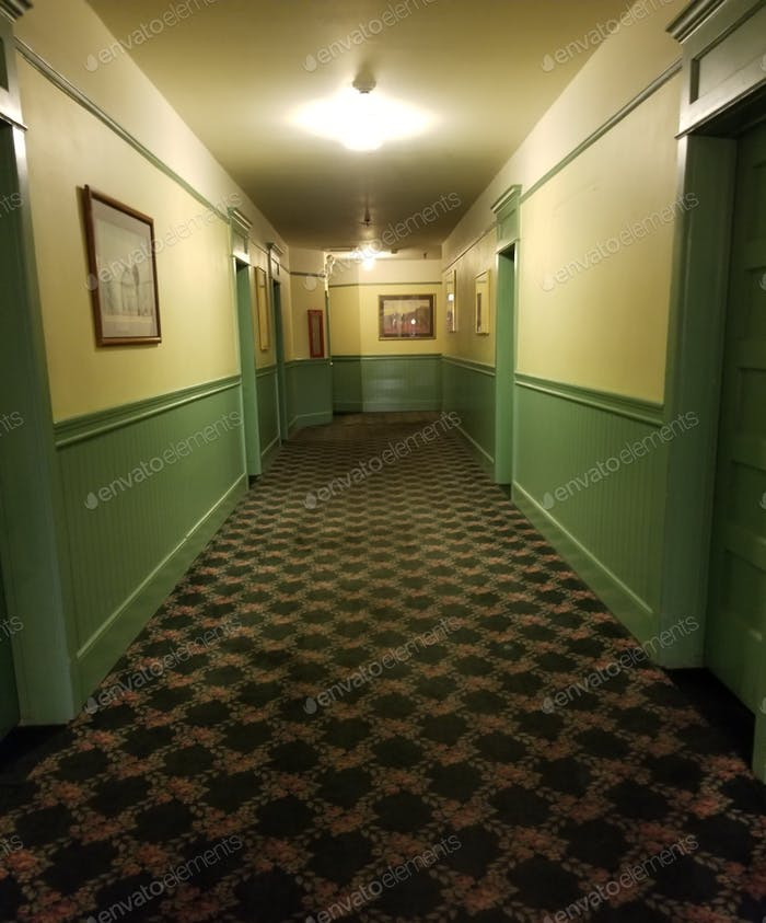 Spooky Hallway of Hotel Rooms in an Historic Western Hotel that Might be Haunted!