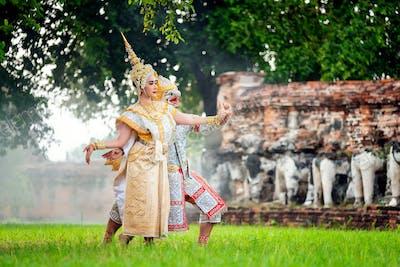 KHON THAI,RANAYANA MASKED,Thai traditional dance  Ramayana dance drama, Art culture Thailand Dance