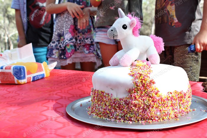 Unicorn rainbow birthday cake