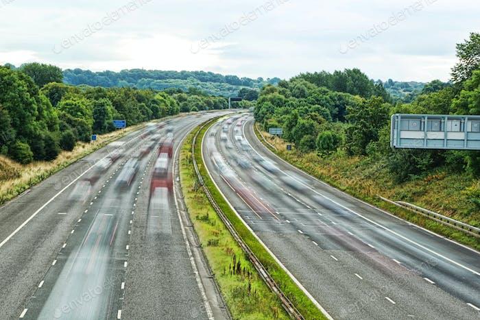 Busy motorway UK